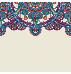 Indian paisley doodle upper border vector image vector image