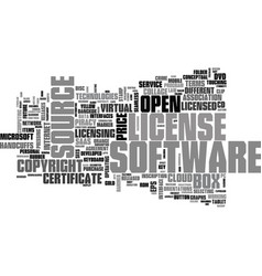 software license word cloud concept vector image
