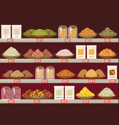 Stall or stand at store with barley and rice vector
