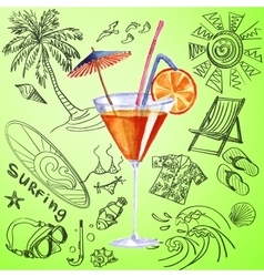 watercolor cocktail and tourist hand draw icon vector image vector image