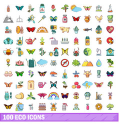 100 eco icons set cartoon style vector image vector image
