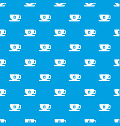 Cup of tea with tea bag pattern seamless blue vector