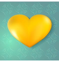 Golden heart on abstract seamless background vector image vector image