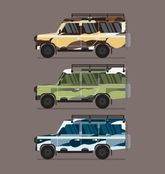 Three Different Colors Of Camouflage Jeep vector image