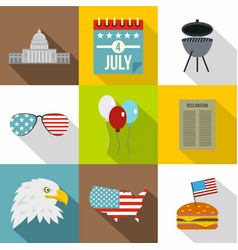 american patriotic day icon set flat style vector image vector image