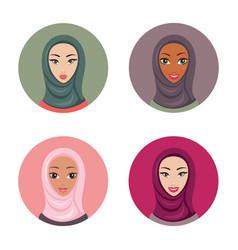 beautiful young muslim woman icons set girls vector image vector image