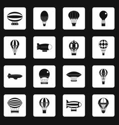retro balloons aircraft icons set squares vector image vector image
