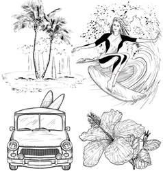 Surfing Design Sketch Set vector image vector image