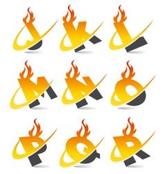 Swoosh Flame Alphabet Logo Set 2 vector image vector image
