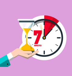 7 minutes on clock flat design seven minute icon vector image