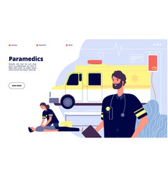 ambulance service paramedic nurses emergency vector image