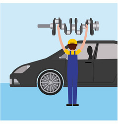 auto mechanic with cam tree spare part vector image