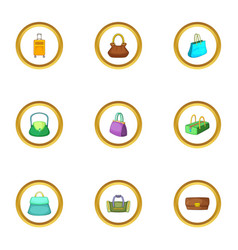 Bags for all occasion icons set cartoon style vector