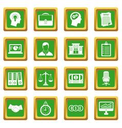 Banking icons set green vector