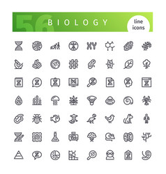 Biology line icons set vector
