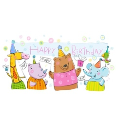 Birthday banner with animals vector image