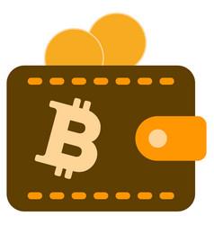 Bitcoin coins wallet flat icon vector