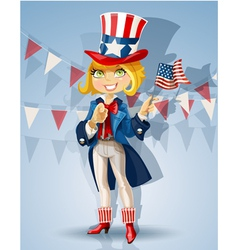 Blond girl in a suit of Uncle Sam Celebrates July vector