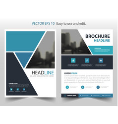 Blue black annual report brochure design vector