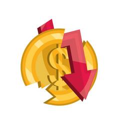 Broken coin money down arrow stock market crash vector