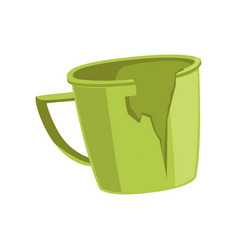 Broken green cup recycling garbage concept vector