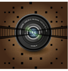 Brown background group of objects lens black vector
