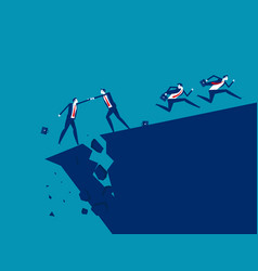 business team and partnership cracks and crises vector image