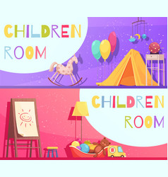 Children room horizontal cartoon banners vector