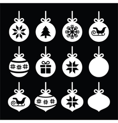 Christmas ball Christmas bauble white icons vector