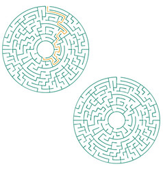 Circular labyrinth with an answer puzzle vector