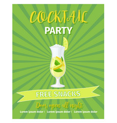 cocktail party green poster template vector image