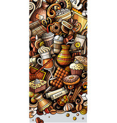 coffee hand drawn doodle banner cartoon detailed vector image