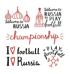 collection football and welcome to russia vector image