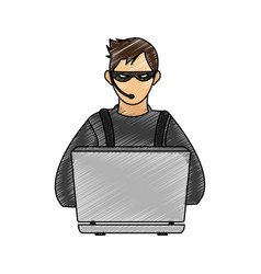 color pencil image cartoon hacker sitting at the vector image