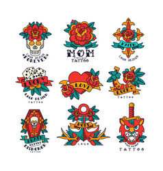 Colorfull tattoos in traditional vintage style set vector