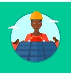 Constructor installing solar panels vector
