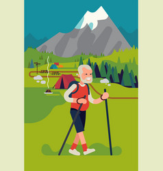 cool flat style on happy elderly man hiking or vector image