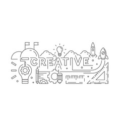 creative concept line art design background vector image