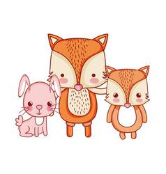 Cute animals foxes and rabbit cartoon vector