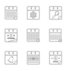 datebook icons set outline style vector image