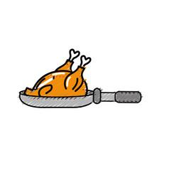 Delicious chicken inside skillet pan vector