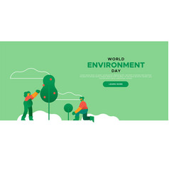 Environment day landing page template vector