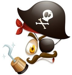 Facial expression with pirate hat vector image