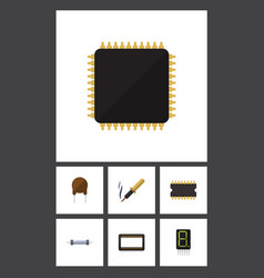 flat icon appliance set of microprocessor repair vector image