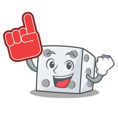 Foam finger dice character cartoon style vector