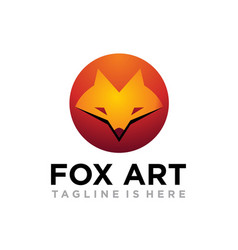 fox art logo vector image