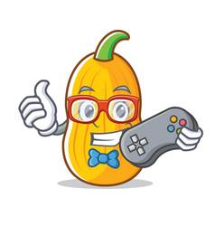 Gamer butternut squash mascot cartoon vector