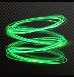 Green neon light circles shiny spiral twirl vector