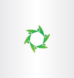 Green people in circle ecology logo vector