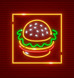 hamburger fast food neon vector image